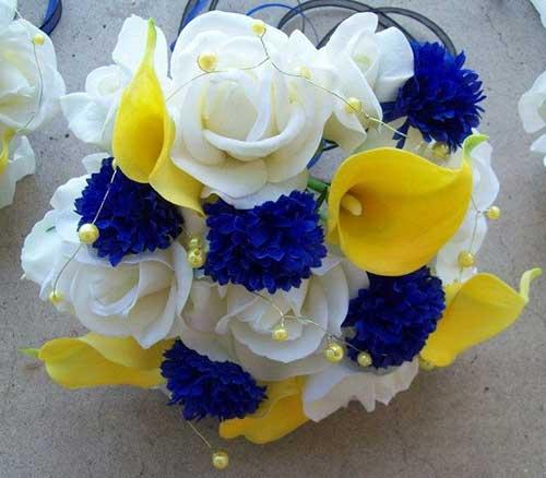 decoracao para casamento em azul e amarelo:para decoração de casamento
